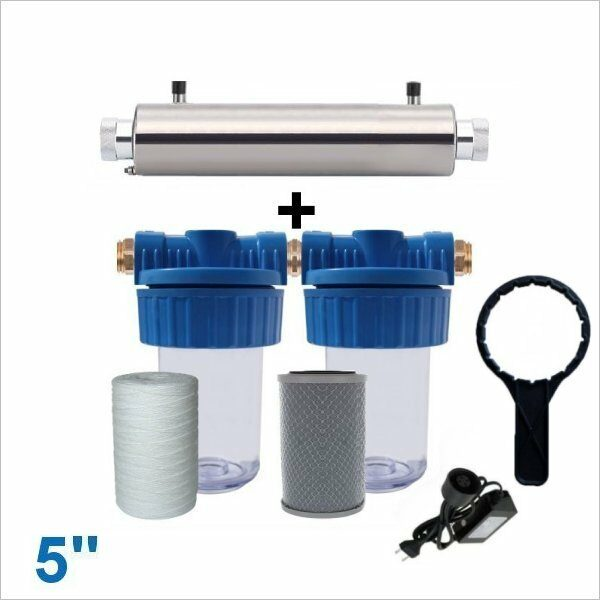 Sterilisateur-uv-Filtre-eau-5-pouces-x2-sediments-bobiné-charbon-actif