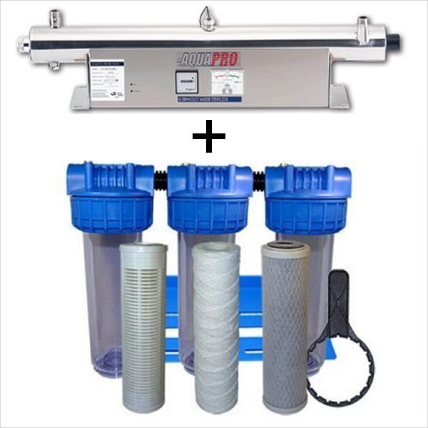 Station de stérilisation Uv 24 GPM et filtration eau de puits 10 pouces moniteur intensité