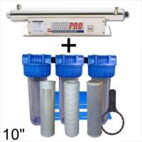 Station de stérilisation Uv 24 GPM et filtration eau de puits 10 pouces compteur d'heure