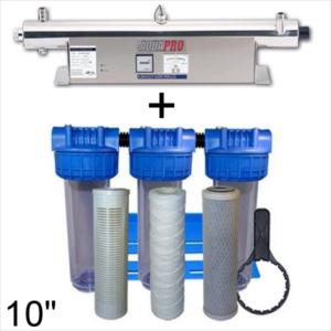 Station de stérilisation Uv 24 GPM et filtration eau de puits 10 pouces moniteur d'intensité
