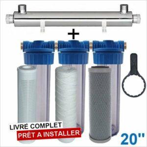 Station uv 1400 litres heure 20 pouces filtration purification eau de puits