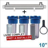 Station uv 1700 litres heure 10 pouces filtration purification eau de puits