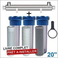 station uv 1700 litres heure 20 pouces filtration purification eau de puits