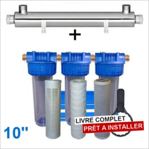 Station uv 2800 litres heure 10 pouces filtration purification eau de puits