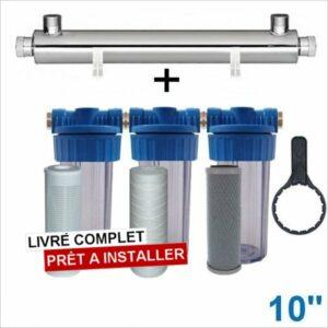 Station uv 3300 litres heure 10 pouces filtration purification eau de puits