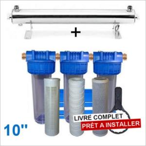 Station uv 4800 litres heure 10 pouces filtration purification eau de puits