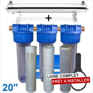 Station uv 4800 litres heure 20 pouces filtration purification eau de puits